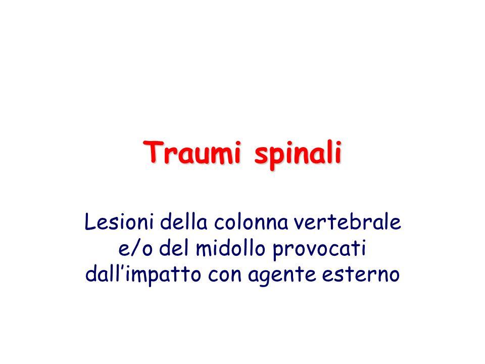 Traumi spinali Lesioni della colonna vertebrale e/o del midollo provocati dall'impatto con agente esterno.