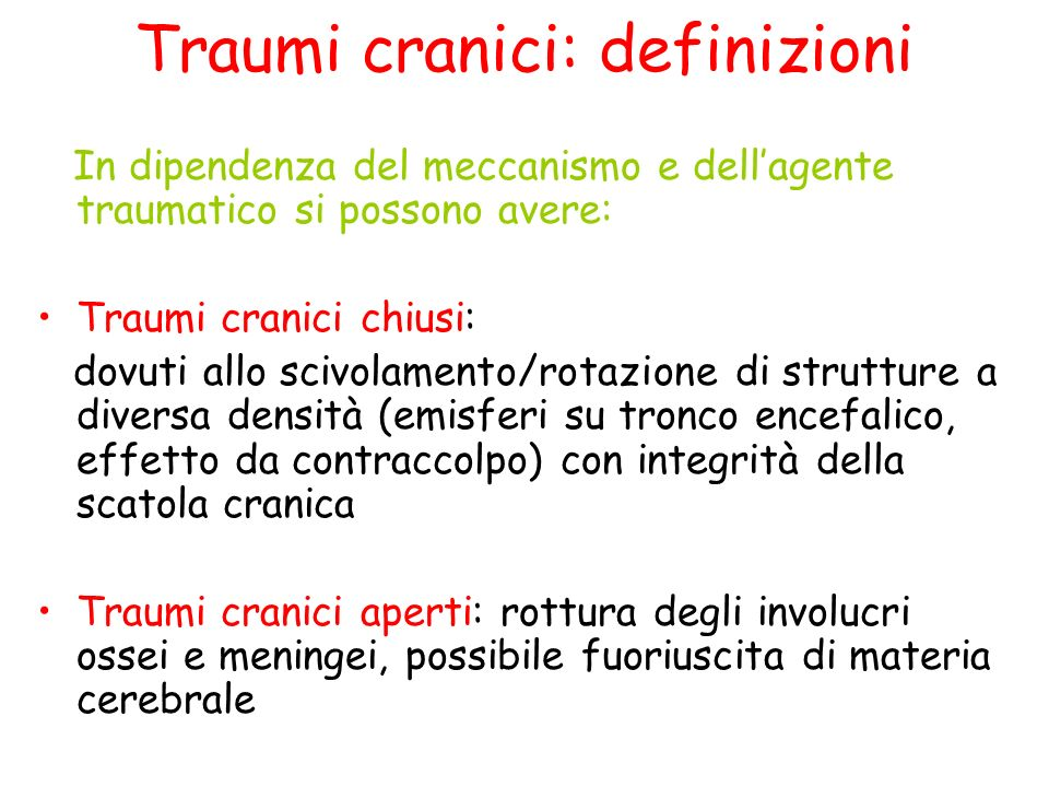 Traumi cranici: definizioni