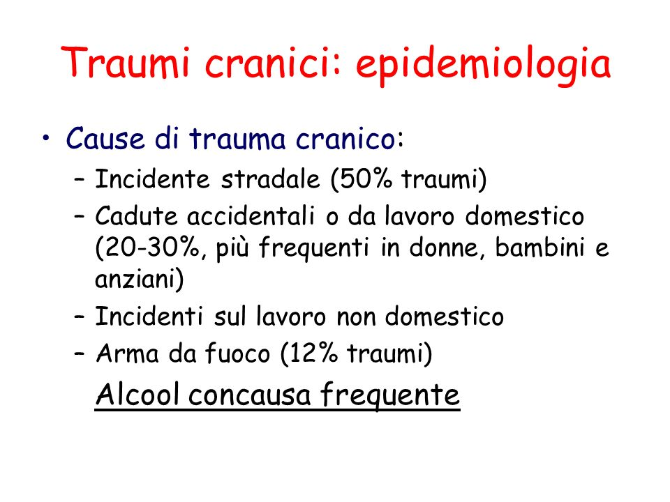 Traumi cranici: epidemiologia