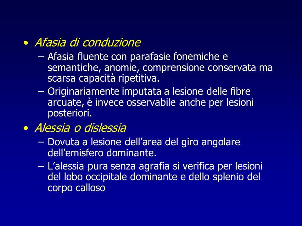 Afasia di conduzione Alessia o dislessia