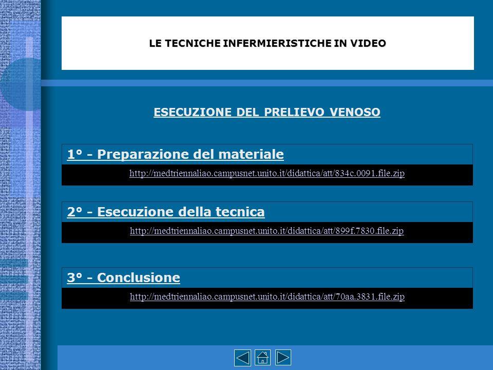 LE TECNICHE INFERMIERISTICHE IN VIDEO ESECUZIONE DEL PRELIEVO VENOSO