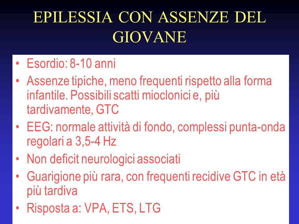 EPILESSIA CON ASSENZE DEL GIOVANE