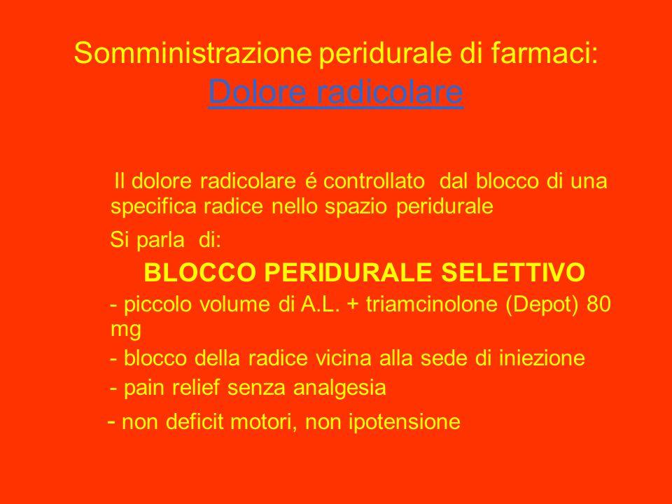 Somministrazione peridurale di farmaci: Dolore radicolare