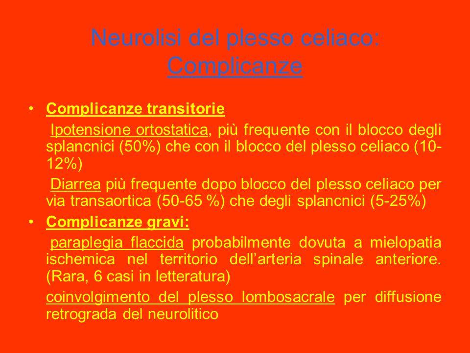 Neurolisi del plesso celiaco: Complicanze