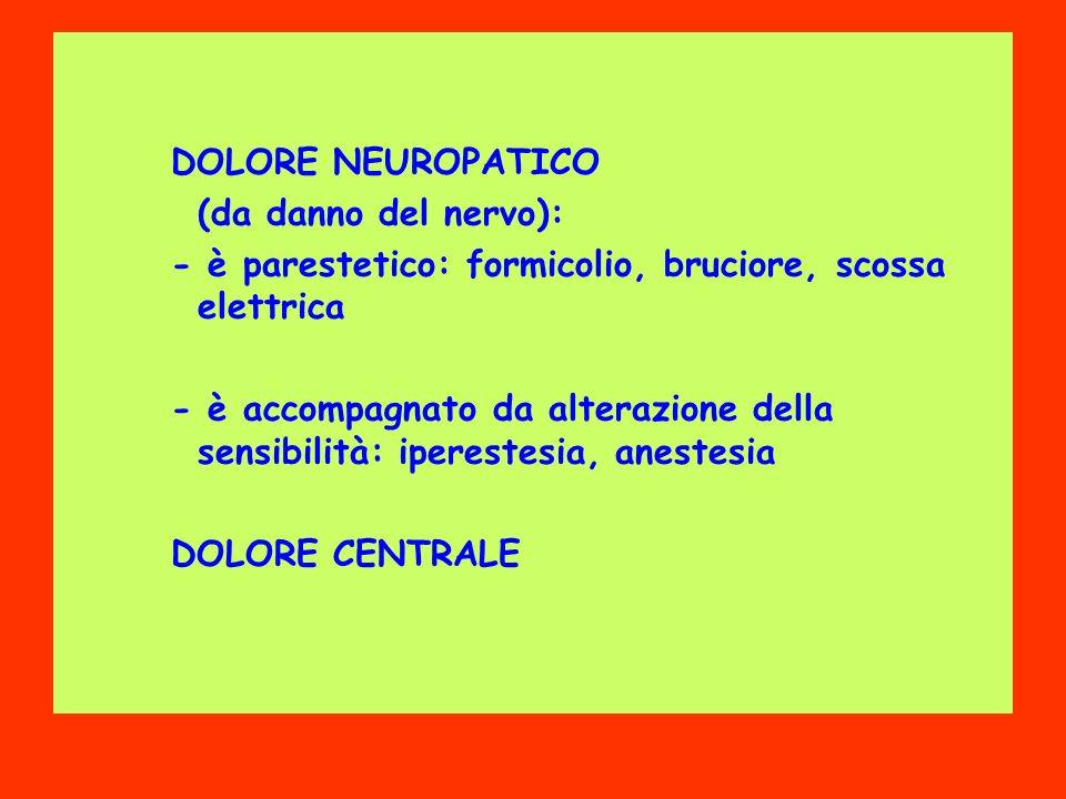 DOLORE NEUROPATICO (da danno del nervo): - è parestetico: formicolio, bruciore, scossa elettrica - è accompagnato da alterazione della sensibilità: iperestesia, anestesia DOLORE CENTRALE