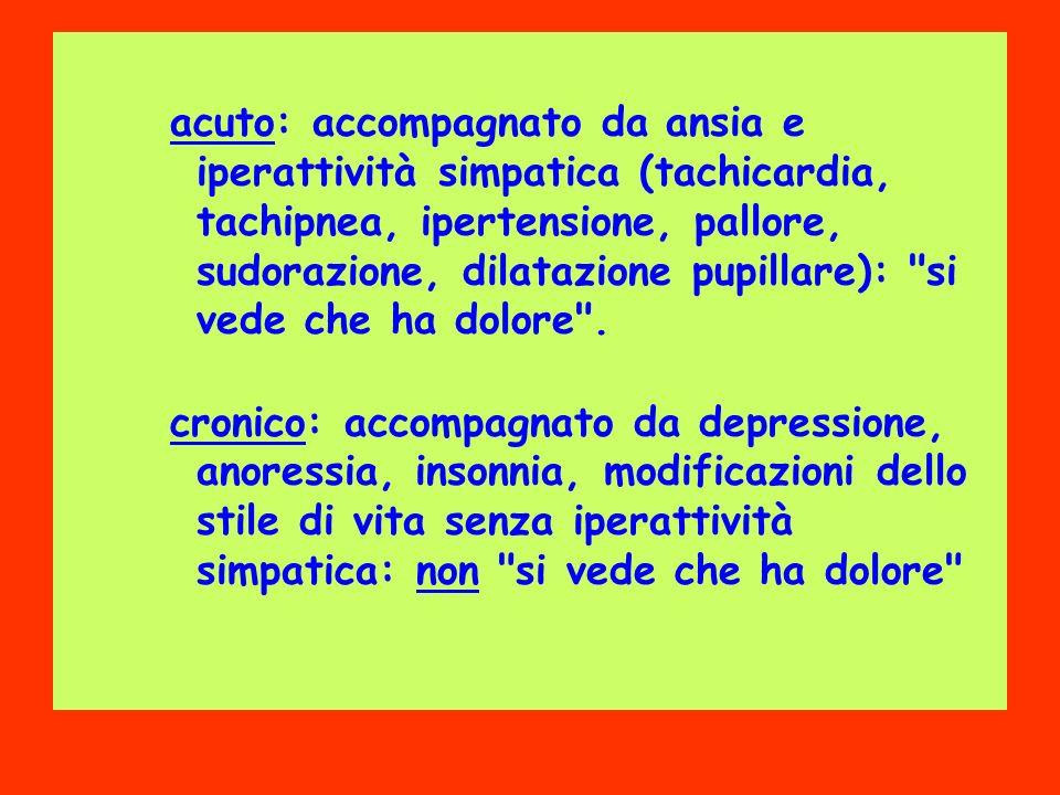 acuto: accompagnato da ansia e iperattività simpatica (tachicardia, tachipnea, ipertensione, pallore, sudorazione, dilatazione pupillare): si vede che ha dolore .