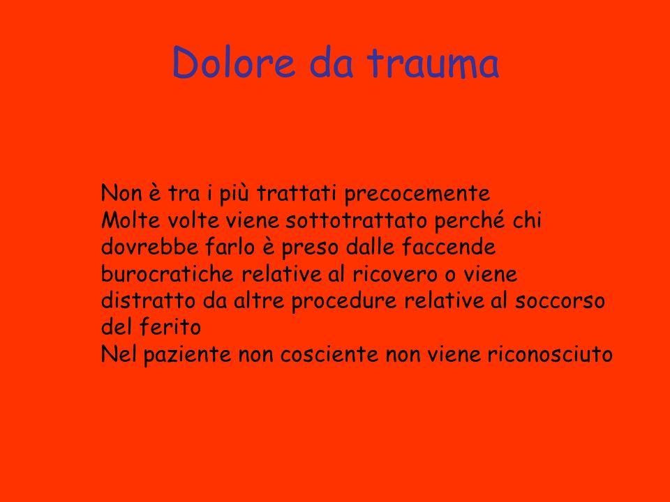 Dolore da trauma Non è tra i più trattati precocemente