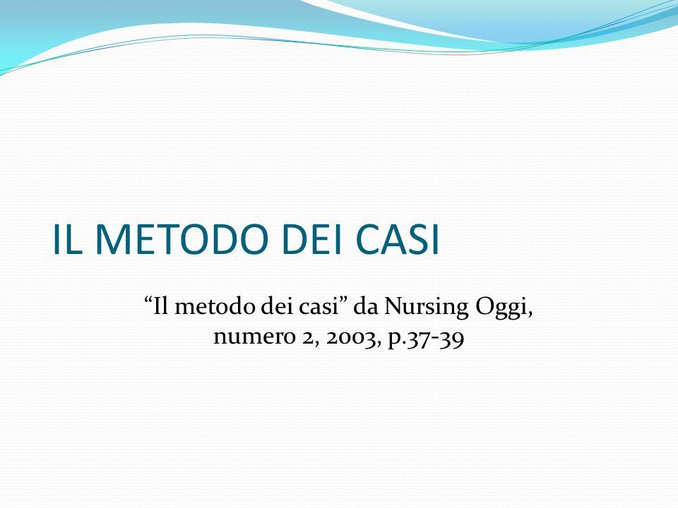 Il metodo dei casi da Nursing Oggi, numero 2, 2003, p.37-39