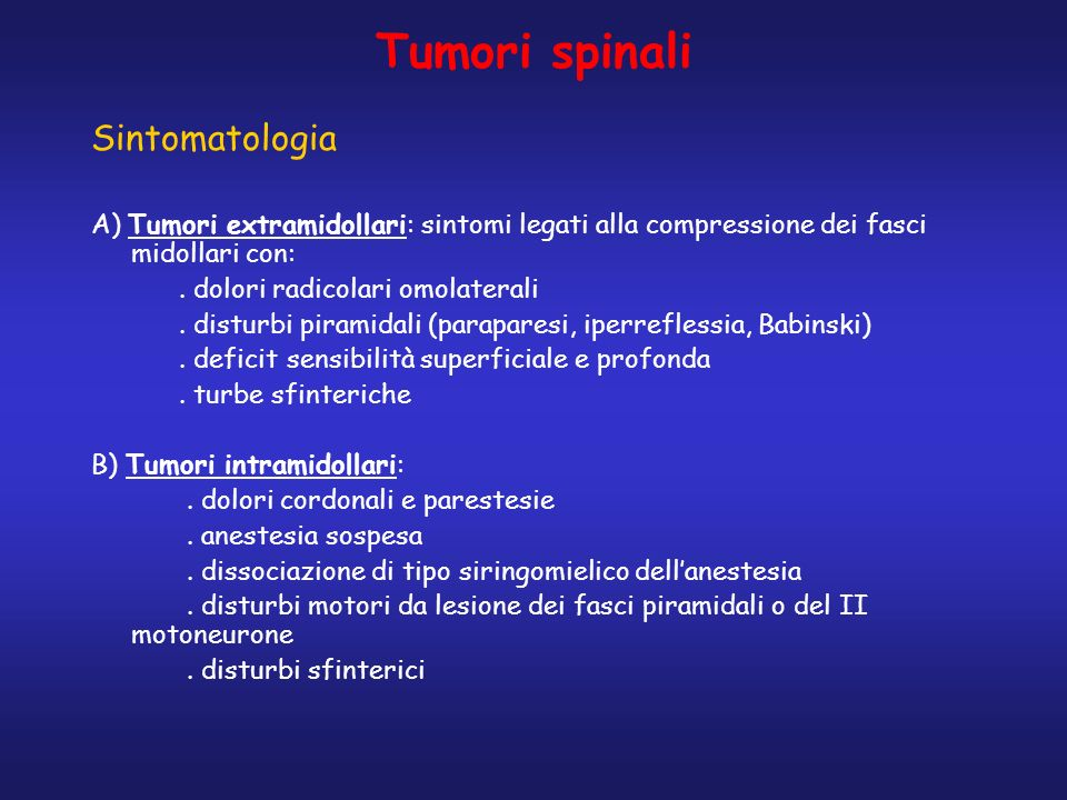 Tumori spinali Sintomatologia