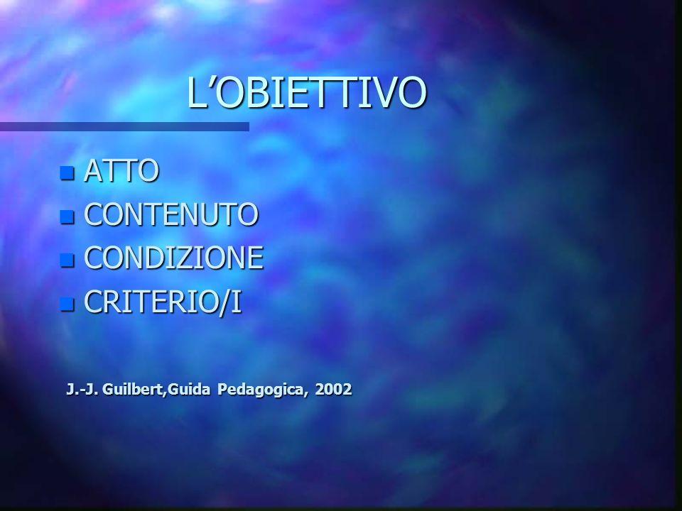 L'OBIETTIVO ATTO CONTENUTO CONDIZIONE CRITERIO/I