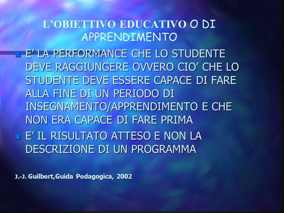 L'OBIETTIVO EDUCATIVO O DI APPRENDIMENTO