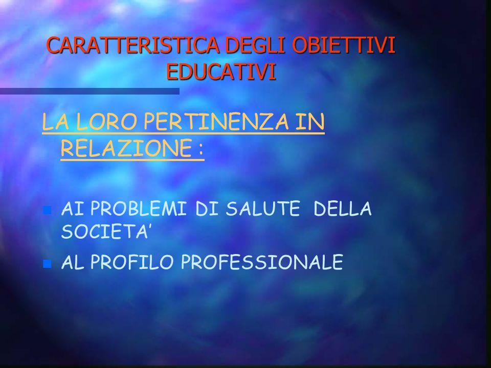 CARATTERISTICA DEGLI OBIETTIVI EDUCATIVI