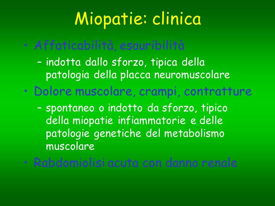 Miopatie: clinica Affaticabilità, esauribilità