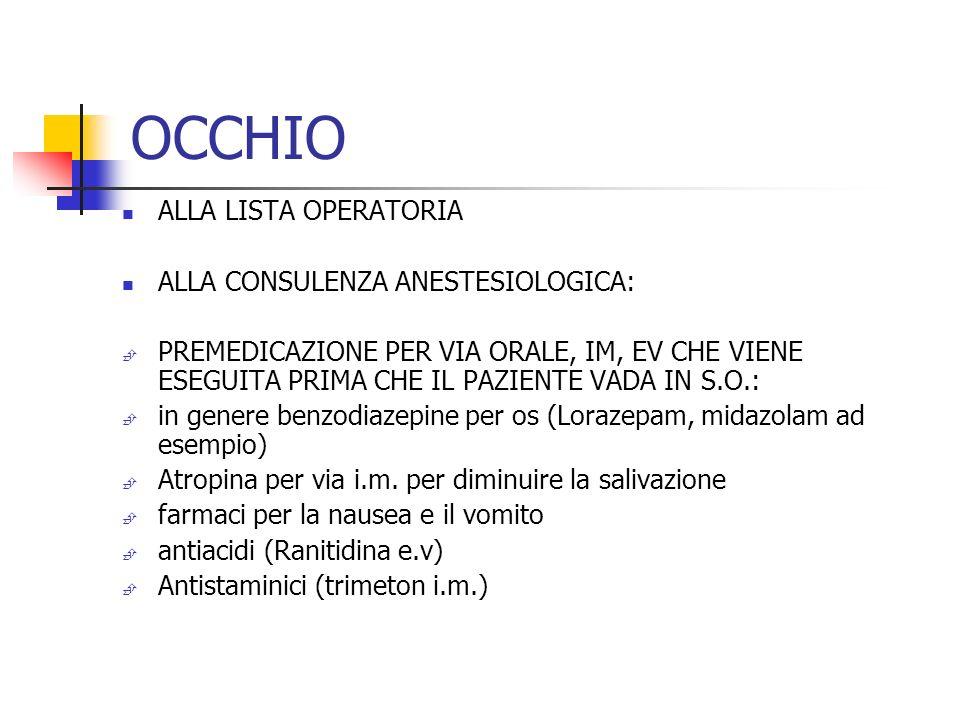 OCCHIO ALLA LISTA OPERATORIA ALLA CONSULENZA ANESTESIOLOGICA: