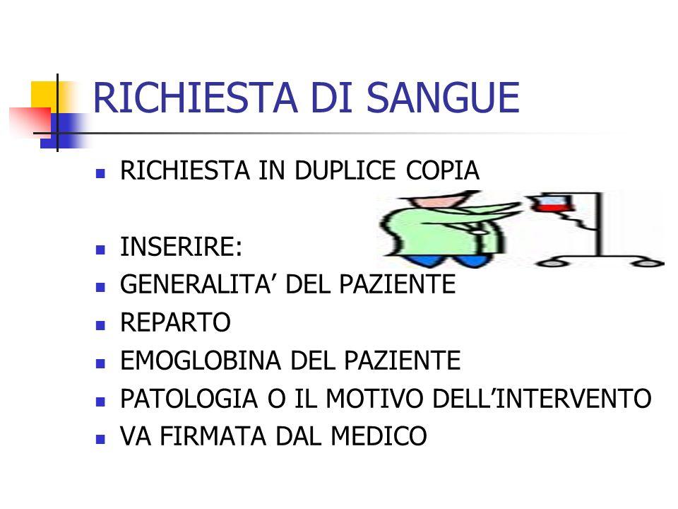 RICHIESTA DI SANGUE RICHIESTA IN DUPLICE COPIA INSERIRE: