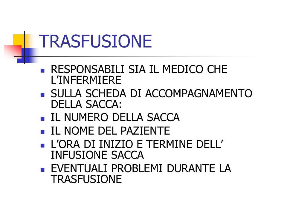 TRASFUSIONE RESPONSABILI SIA IL MEDICO CHE L'INFERMIERE