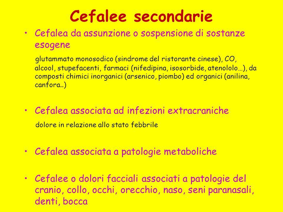Cefalee secondarie Cefalea da assunzione o sospensione di sostanze esogene.