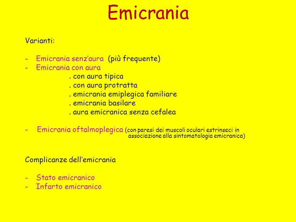Emicrania Varianti: Emicrania senz'aura (più frequente)