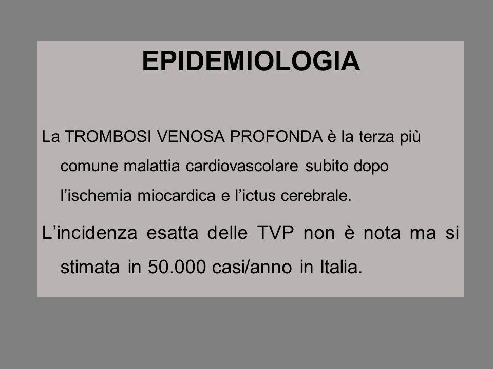 EPIDEMIOLOGIALa TROMBOSI VENOSA PROFONDA è la terza più comune malattia cardiovascolare subito dopo l'ischemia miocardica e l'ictus cerebrale.