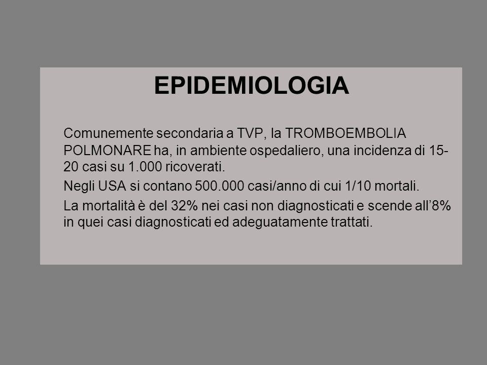EPIDEMIOLOGIA Comunemente secondaria a TVP, la TROMBOEMBOLIA POLMONARE ha, in ambiente ospedaliero, una incidenza di 15-20 casi su 1.000 ricoverati.