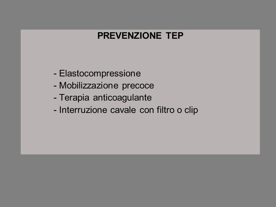PREVENZIONE TEP - Elastocompressione. - Mobilizzazione precoce.