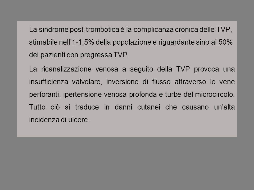La sindrome post-trombotica è la complicanza cronica delle TVP, stimabile nell'1-1,5% della popolazione e riguardante sino al 50% dei pazienti con pregressa TVP.