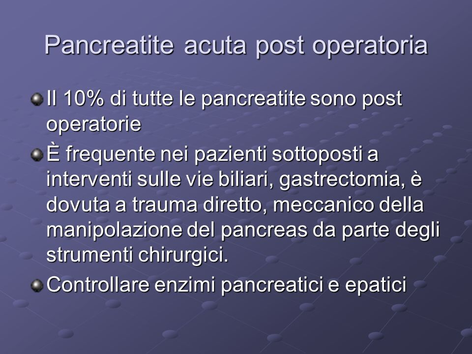 Pancreatite acuta post operatoria