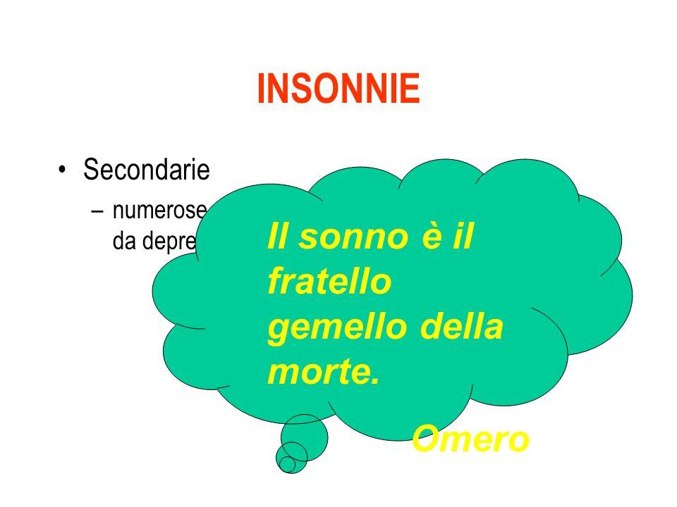 INSONNIE Il sonno è il fratello gemello della morte. Omero Secondarie