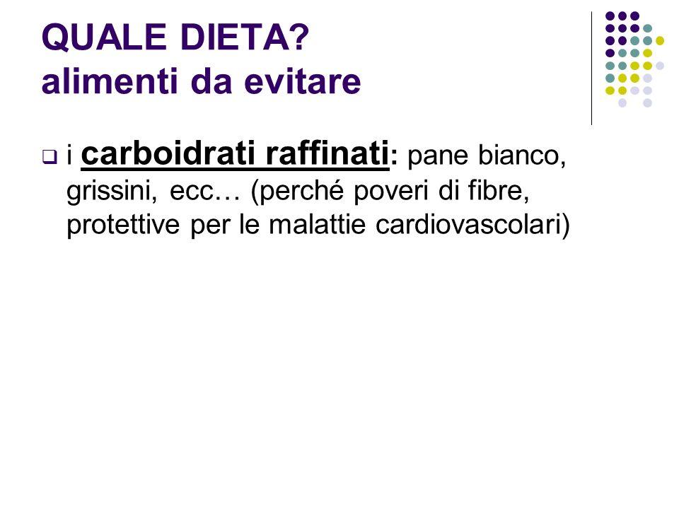 QUALE DIETA alimenti da evitare