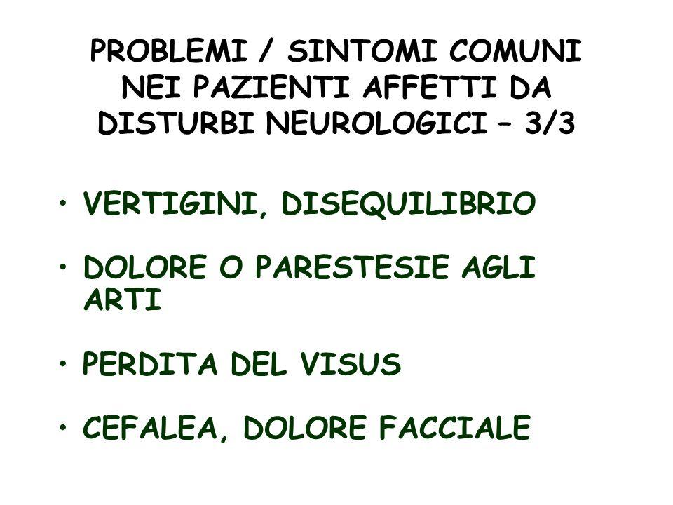 PROBLEMI / SINTOMI COMUNI NEI PAZIENTI AFFETTI DA DISTURBI NEUROLOGICI – 3/3