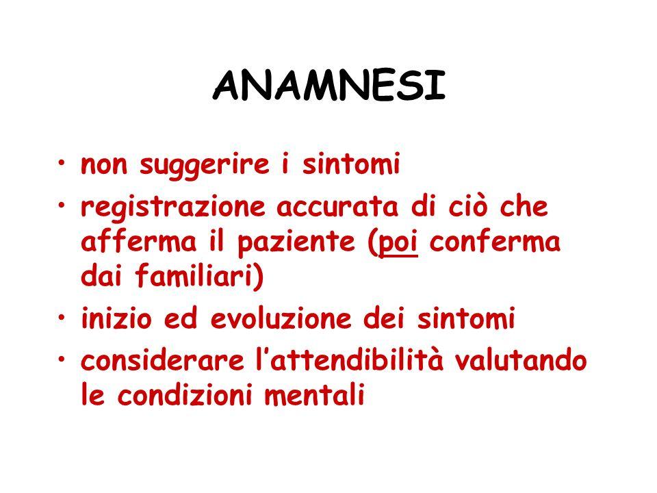 ANAMNESI non suggerire i sintomi