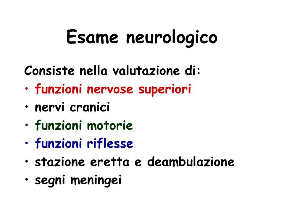 Esame neurologico Consiste nella valutazione di: