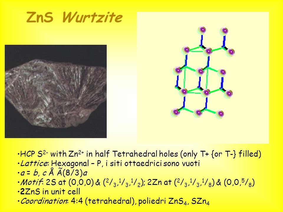 ZnS WurtziteHCP S2- with Zn2+ in half Tetrahedral holes (only T+ {or T-} filled) Lattice: Hexagonal – P, i siti ottaedrici sono vuoti.