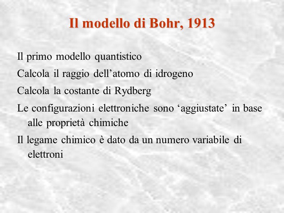 Il modello di Bohr, 1913 Il primo modello quantistico