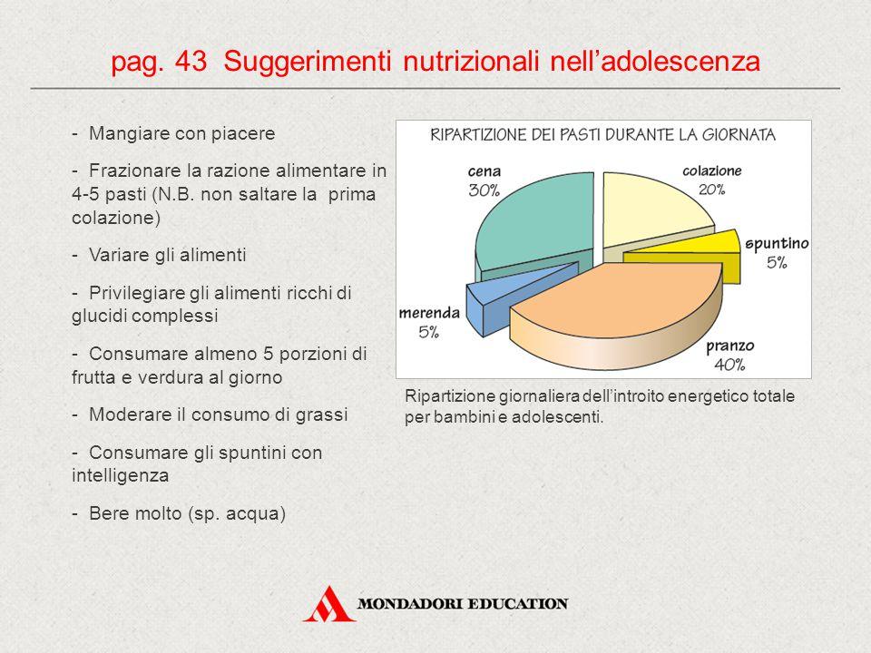 pag. 43 Suggerimenti nutrizionali nell'adolescenza
