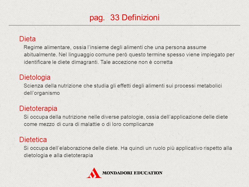 pag. 33 Definizioni Dieta Dietologia Dietoterapia Dietetica
