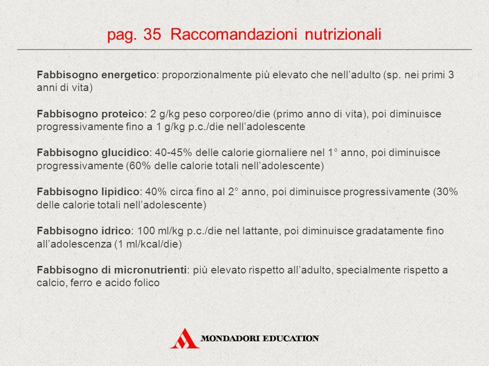 pag. 35 Raccomandazioni nutrizionali