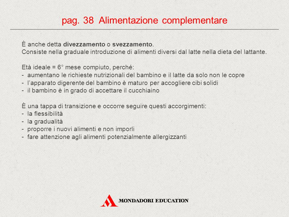 pag. 38 Alimentazione complementare