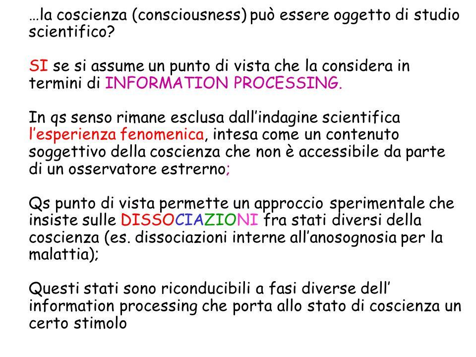 …la coscienza (consciousness) può essere oggetto di studio scientifico