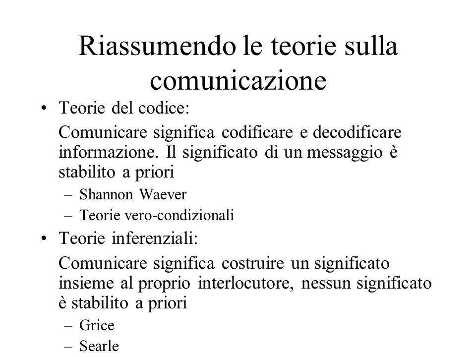 Riassumendo le teorie sulla comunicazione