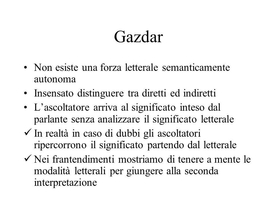 Gazdar Non esiste una forza letterale semanticamente autonoma