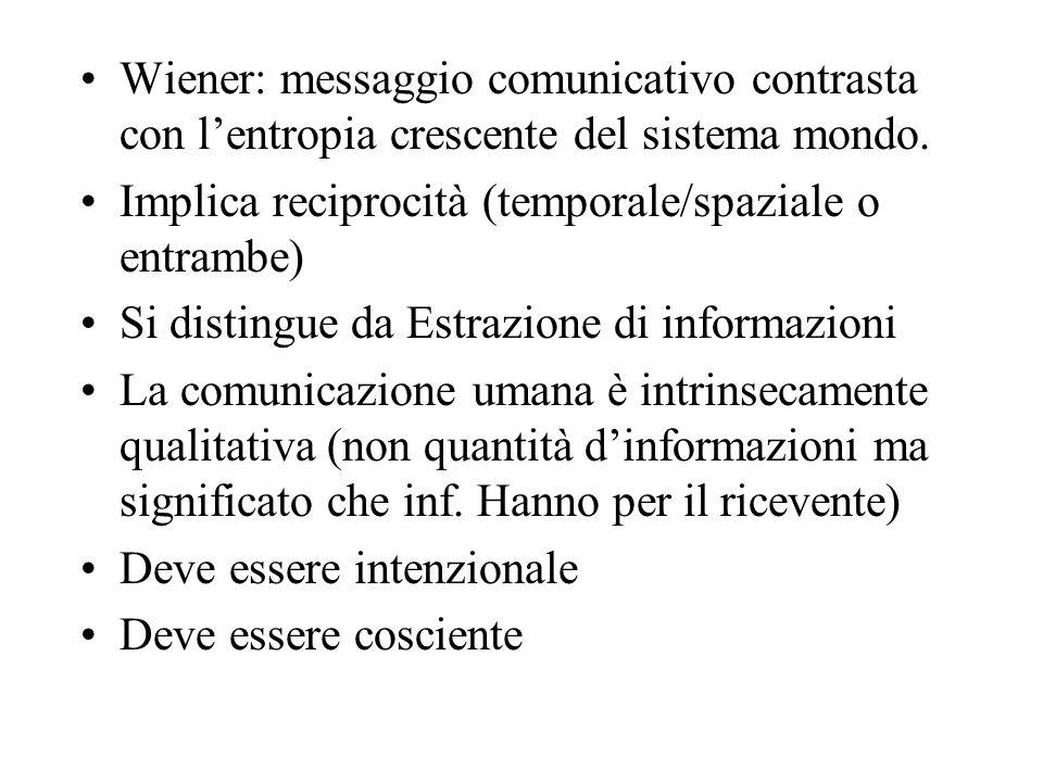 Wiener: messaggio comunicativo contrasta con l'entropia crescente del sistema mondo.