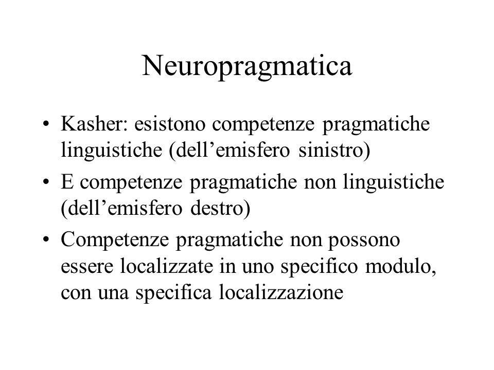 Neuropragmatica Kasher: esistono competenze pragmatiche linguistiche (dell'emisfero sinistro)