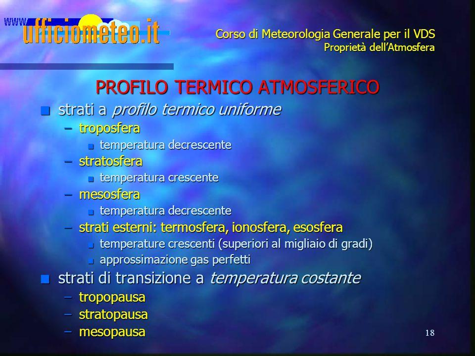 Corso di Meteorologia Generale per il VDS Proprietà dell'Atmosfera