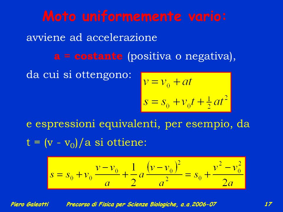 a = costante (positiva o negativa),