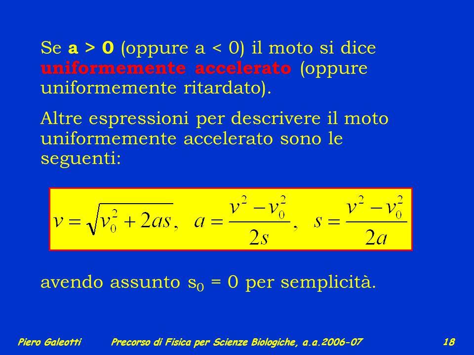 avendo assunto s0 = 0 per semplicità.