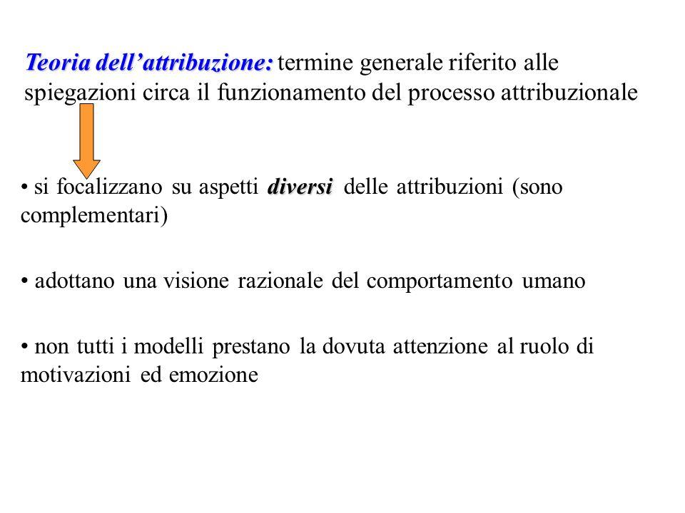 Teoria dell'attribuzione: termine generale riferito alle spiegazioni circa il funzionamento del processo attribuzionale