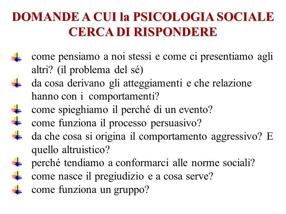 DOMANDE A CUI la PSICOLOGIA SOCIALE CERCA DI RISPONDERE
