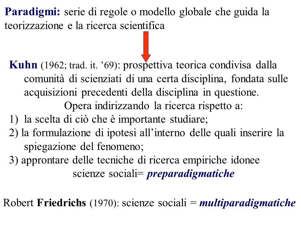 Paradigmi: serie di regole o modello globale che guida la teorizzazione e la ricerca scientifica