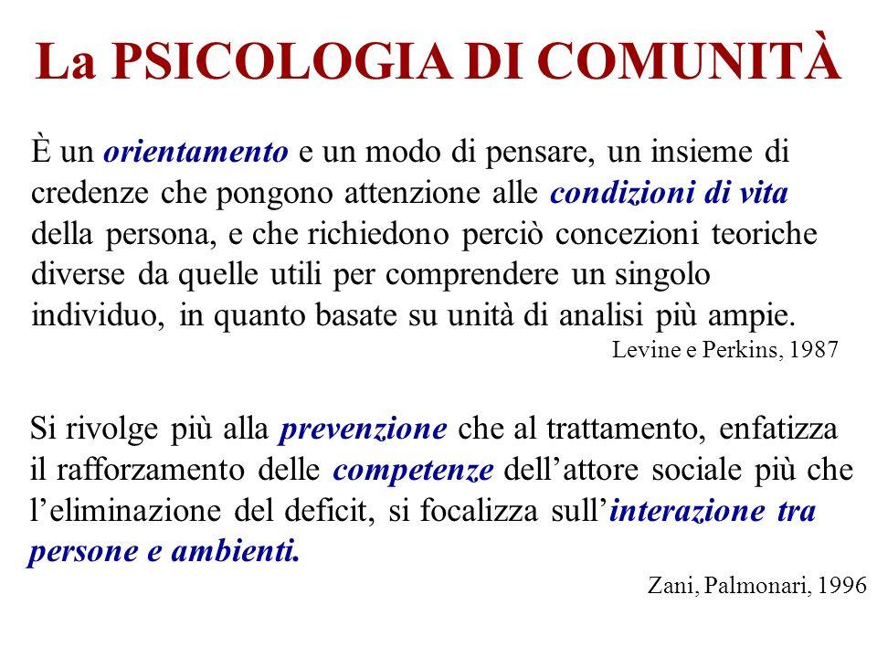 La PSICOLOGIA DI COMUNITÀ